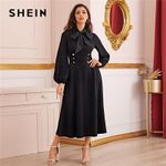High Waist Tie Neck Buttoned Elegant Black Dress