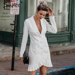 Sexy v-neck blazer Elegant breasted white dress