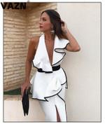 Fresh Sexy Short Sleeve Off Shoulder High Waist White Dress