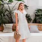 Ruffled buttons high waist Sexy v-neck white dress