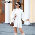 Lace Vintage Lantern Long Sleeve Stand Collar White Dresses