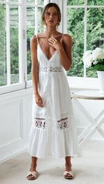 Sexy Lace V Neck Casual Patchwork Hollow Out White Dress