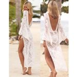 Backless Sexy Hollow Out Long Sleeve Lace White Dress