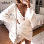 Long Sleeve Lace Up Wrap V Neck Tunic Sweater White Dress