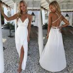 Sexy Fashion Floral V-neckline Deep Waist High White Dress