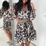 Fashion V Neck Lace up Casual Elastic Waist Leopard Dress