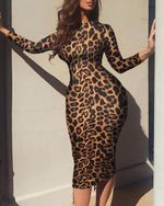 Print Long Sleeve  Elegant Sexy Leopard Dress