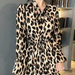 Long Sleeve V-neck Elastic High Waist Slim  Leopard Dress