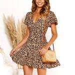 Pattern Short Sleeve V Neck Leopard  Dress