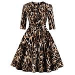 sexy Zipper O Neck Half Sleeve A Line Leopard Dress