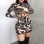Slim Long Sleeve High Waist O-Neck Sexy Leopard Dress