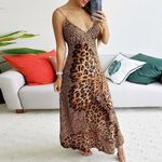 Sexy Deep Print Sleeveless Skinny Leopard Dresses