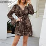 Vintage Fashion V-Neck Sexy Loose Long Sleeve Leopard Dress