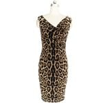 Sexy Sleeveless V Neck Elegant Slim Leopard Dresses