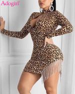 Mock Neck Long Sleeve  Crystal Tassel Leopard Dress