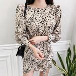 Sexy Slim Waist Lantern Sleeve Chiffon Lace Up Leopard Dress