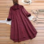 Fashion Lapel Plaid Print Long Sleeve Vintage Dress