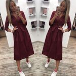 Casual Button Sashes Fashion Vintage Party Dress