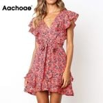 Floral Print Sashes Ruffles  Elegant Party Dress