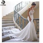 Sleeves Vintage Lace Backless Mermaid lace Wedding Dress