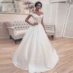 Princess Ball Gown Corset Off Shoulder Elegant Satin Wedding Dress