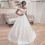 Princess Ball Gown Corset Off Shoulder Elegant Satin Wedding Dress