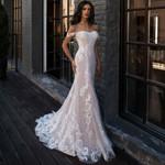 Sexy Mermaid Sleeveless Shoulder Bridal Lace Wedding Dress