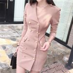Double Breasted Sexy Wrap  Slim Fit V Neck Blazer Dress