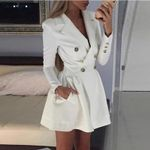 Double Breasted Notched Lapel  Blazer Dress