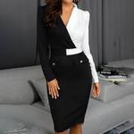 Sexy Long Sleeve Buttons Dot Patchwork Blazer Dress