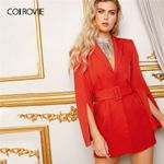 Elegant Casual Split Sleeve Belted Blazer Dress