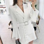 Elegant Buttons Sashes Notched Neck Slim Blazer Dress