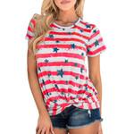 Short Sleeve Polyester Stripe Round Neck Star pattern T-Shirt