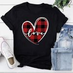 Casual Love Heart Couples Lovers Plaid Print T-Shirt