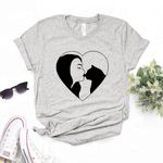 Cotton Casual Funny heart Print t-shirt
