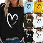 O-Neck Long Sleeve Love Heart Chest Print T-Shirt