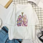 Heart lung art flower print loose Funny Casual fashion T-shirt