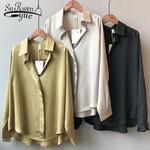Vintage V Neck  Fashion Long Sleeves Satin Blouse