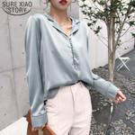 Elegant Sexy V Neck Long Sleeve Vintage Satin Silk Blouse