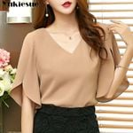 Casual Chiffon Butterfly Sleeve Loose Blouses