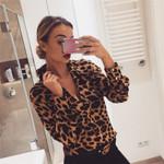 Loose V-Neck Fashion Leopard Print Long Sleeve Blouses