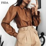 Turn Down Collar Button Faux Leather Fashion Blouse