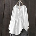 Vintage Tunic Korean Fashion Long Sleeve Blouse