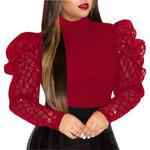 Shirt Long Sleeve Elegant Vintage sheer Mesh Puff Sleeve Blouse