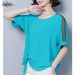 Casual Loose O-neck Bow Short Sleeve Chiffon Blouse