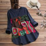 V Neck Long Sleeve Tunic  Vintage Printed Casual Cotton Blouse