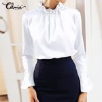 Fashion Elegant Satin Silk Long Flare Sleeve Blouse