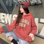 Warm Large Size Patchwork Letter Hoodies