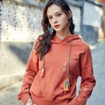 Zip  Vintage Embroidery O-Neck Pullover Casual Hoodies