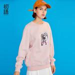 Dog Pattern Printed Pink Long Sleeve Sweatshirt